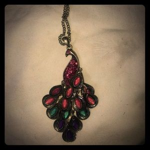 """32"""" silver tone link chain peacock pendent pink"""